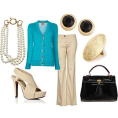 Turquoise and Cream.  Love Pearls and these shoes.