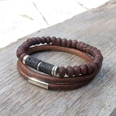 Leather bracelet set, Mens lava and leather bracelet set, Mala, Yoga, Meditation, Boho bracelet set for men
