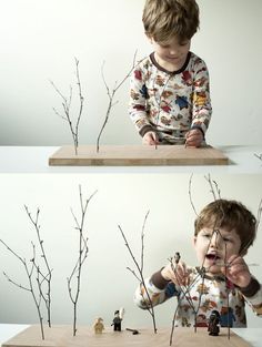 DIY toys - love this twig forest.