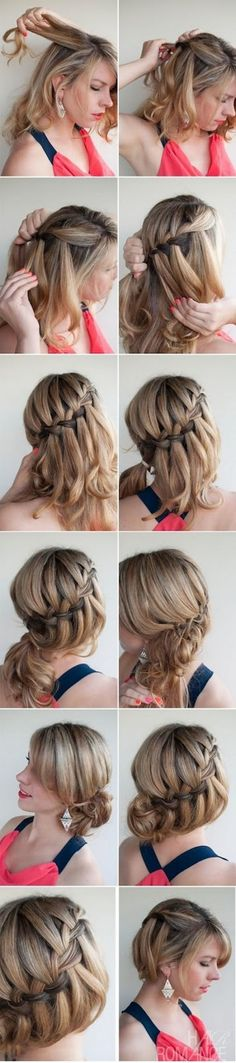 DIY Waterfall Braided Bun Hairstyle, The 6 Hottest Medium-Length Hairstyles