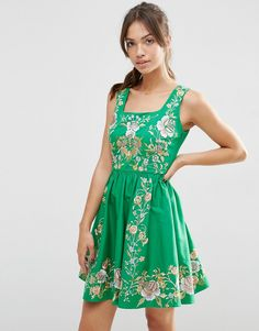 Image 1 ofASOS PREMIUM Embroidered Prom Dress