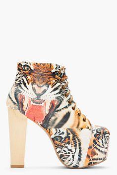 JEFFREY CAMPBELL Rust Tiger Print Lita Boots