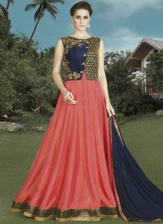 Tomato Red Navy Blue Embroidery Work Silk Designer Anarkali Long Wedding Suit http://www.angelnx.com/Salwar-Kameez/Anarkali-Suits