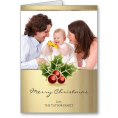 Christmas Family Photo with Holly Berry motif photo card for holiday season