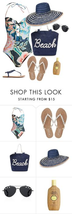 """""""Beach time!"""" by wendycecille ❤ liked on Polyvore featuring Mara Hoffman, M&Co, Armani Jeans, Givenchy and Sun Bum"""