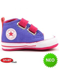 CONVERSE ΜΠΕΜΠΕ ΠΑΠΟΥΤΣΙ ΑΓΚΑΛΙΑΣ ΜΩΒ-ΡΟΖ Converse, All Star, Baby Shoes, Sneakers, Kids, Clothes, Fashion, Tennis, Young Children