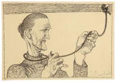 El final de la trapera. Pluma sobre carboncillo. 1907/1909. 28,2 x 40,6 cm. Artista: Ernst Barlach.