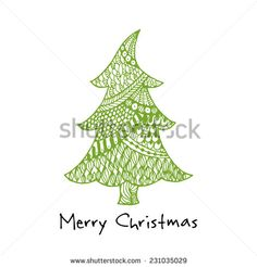 Greeting card with hand drawn green Christmas tree
