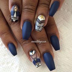 Wonderful game on blue nails Coffin nail art Glam Nails, Hot Nails, Fancy Nails, Beauty Nails, Hair And Nails, Fabulous Nails, Perfect Nails, Gorgeous Nails, Pretty Nails