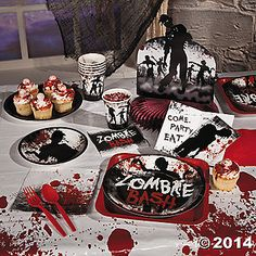 Party supplies from Oriental Trading Company for zombie themed birthday!