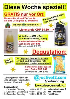 GRATIS im Wert von CHF 54.90 diese Woche und mehr! http://www.active12.ch/info/Oeffnungszeiten.html #Gratis #GratisECA #ECA #Degustation #Lagerverkauf #active12