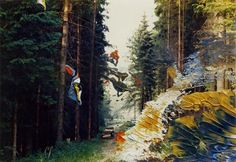 Gerhard Richter in the woods. Gerhard Richter, Painting On Photographs, San Francisco Museums, Collage Art Mixed Media, Pictures To Draw, Image Photography, Contemporary Paintings, Landscape Art, Installation Art