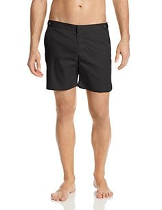 parke  ronen Mens Catalonia Solid 6 inch Swim Short BlackBlack 38 -- Click the VISIT button to view the swimwear details