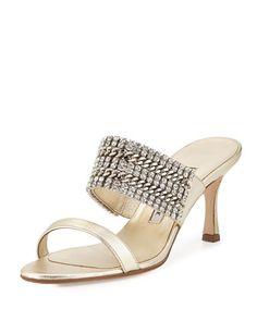 Telo Jeweled Napa Slide Sandal by Manolo Blahnik at Bergdorf Goodman.