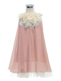Lovely Mauve Pink Floral Neckline Silky Chiffon Flower Girl Dress (Sizes 2-14 in 7 Colors)