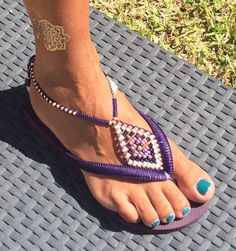 Purple Anklet Sandals, Hippie Chic Flip Flops, Women Strappy Beaded Sandals, Boho Anklet Gipsy Style  Decorated Purple & Gold Beaded Flip Flop Havaianas Sandals - 100% Handmade.  You can decorate your hands, ears, neck but also … your feet!  These are an absolutely unique Must Have Flip Flops!!! The combination between style and comfortable at the same pair of sandals.  By decorating I used professional jewelry techniques and the highest quality materials varying from japanese beads, ster...