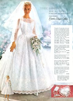 vintage bridal catalog page 1960s Wedding, Vintage Wedding Photos, Vintage Bridal, Vintage Weddings, Rustic Weddings, Country Weddings, Lace Weddings, Vintage Outfits, Vintage Gowns