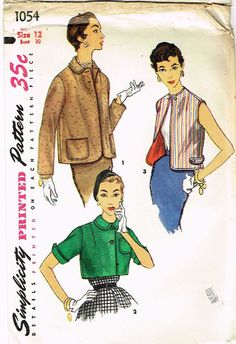 """Simplicity Pattern 1054 Misses' Jacket Pattern Set of Three Styles Dated 1955 Factory Folded and Unused Rare New Old Stock Pattern Minor Envelope Wear Size 12 (30"""" Bust) We Sell the Best Original Vint"""