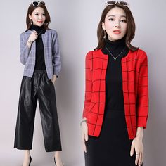 d788d9797837 2017 Women s Clothing Soft and Comfortable Coat Cardigans Sweaters Women  New Autumn Plaid Knitted Cardigan Female