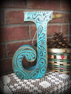 """10"""" standing letter """"J"""" painted in """"Spicy Teal""""...features a pretty raised design in the finish.  Betweenfrendz@aol.com"""