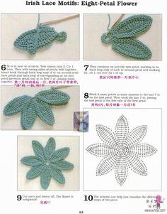crochet eight petal flower
