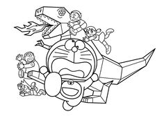 Doraemon and metal dinosaur coloring pages for kids, printable free - Doraemon