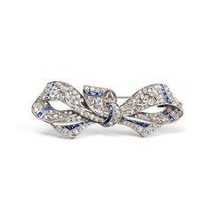 Art Deco brooch, platinum, diamonds, calibrated sapphires. circa 1930