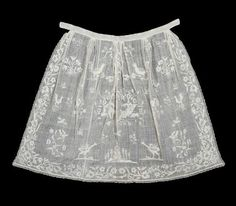 Europe - Apron - Cotton plain weave with cotton embroidery and drawn work and bobbin lace trim 18th Century Clothing, Corsage, Kerchief, Aprons Vintage, Linens And Lace, Antique Lace, Bobbin Lace, Historical Clothing, Lace Trim