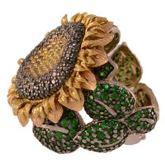 Alex Soldier Tsavorite Garnet Diamond Gold Sunflower Ring | From a unique collection of vintage cocktail rings at https://www.1stdibs.com/jewelry/rings/cocktail-rings/