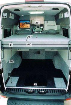 Custom Camper Vans, Custom Campers, Campervan Bed, Campervan Interior, Sprinter Van Conversion, Camper Van Conversion Diy, Van Conversion With Garage, Kombi Motorhome, Camper Trailers