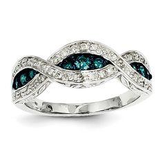 14k White Gold White & Blue Diamond Ring - QGY11928AA - KevinJewelers.com