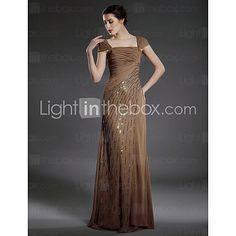 clearance! mantel / kolumn fyrkantig urringning golv-längd chiffong matt satin brudens mor klänning - USD $ 89.99