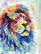AFRICAN LION ABSTRACT ART OIL PAINTING By SARAH STRIBBLING ...
