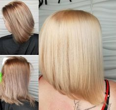 """amhairrrTop left is her 1st time removing a level 4 violet. Bottom left pic is what she came back with from wear & tear from the past few weeks(April 6). Now """"peachy"""" blonde for her second go around. #AMBERclipsdyesyahair #reignsalonandspa #behindthechair #modrensalon #mypassionismyart"""