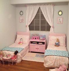 Twin Bed Ideas For Small Rooms Twin Bedroom Ideas Two Beds In e from Little Girls Twin BedLittle Girls Twin Bed - The m Two Girls Bedrooms, Girls Twin Bed, Bed For Girls Room, Small Room Bedroom, Girl Room, Small Rooms, Twin Bedroom Ideas, Bedroom Girls, Master Bedroom