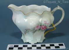 Antique RS Prussia Pretzel Handle Hand Painted Creamer Pitcher (as-is) (FF)