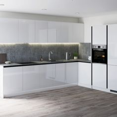 Create an on-trend linear look by using our Greenwich Gloss White kitchen. Perfect for creating a modern kitchen look. Pair white kitchen cabinets with concrete worktops and wooden floors for a contemporary design. Grey Kitchen Designs, Kitchen Design Open, Kitchen Cabinet Design, Kitchen Layout, Kitchen Interior, Interior Door, Interior Modern, Gloss Kitchen Cabinets, White Gloss Kitchen