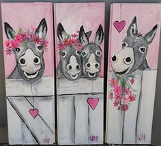 pretty in pink .by Wilma POtgieter Wood Painting Art, Stone Painting, Watercolor Paintings, Mini Canvas Art, Abstract Canvas Art, Donkey Drawing, Cute Donkey, Paint And Sip, Pallet Art