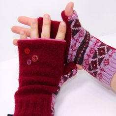 Cranberry Punch Fingerless Mitts  Recycled Wool  by mirabeans, $30.00