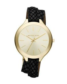 Dress up your wrist in style with this Michael Kors watch, featuring a double black croc leather band and yellow goldtone dial. Polished stainless steel and a Japanese movement completes this gorgeous