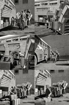 """""""Loading baggage on a Greyhound bus at the bus terminal."""" Photo by Esther Bubley in burst mode for the Office of War Information. Vintage Photographs, Vintage Photos, Bus Terminal, Moving To California, High Resolution Photos, Triptych, Photo Archive, Baggage, Historical Photos"""