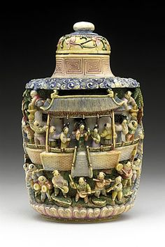 Snuff Bottle (Biyanhu) with Pavilion Scenes, China, late Qing dynasty, about 1800-1911, Carved ivory with polychrome tinted decoration, matching stopper