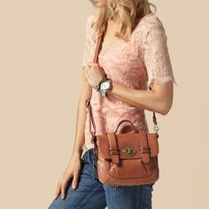 I got my very own Fossil bag, a crossbody like this one but in a darker brown!!!