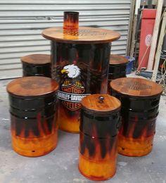 Man Cave Furniture, Garage Furniture, Barrel Furniture, Oil Barrel, Metal Barrel, Drum Seat, Lounge Party, 55 Gallon Drum, Barrel Table