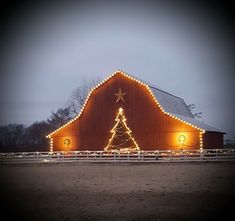 Yule style!! Noel Christmas! Winter solstice!! Red barn outlined with Christmas Lights - and even has a Holiday Tree outlined in lights too! A beacon of Joy throughout the Winter Season!