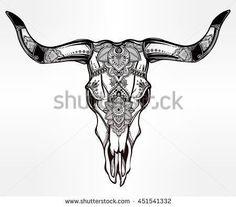 Hand drawn romantic tattoo style ornate decorative desert cow or buffalo skull. Spiritual native indian navajo art. Vector illustration isolated. Ethnic design, mystic tribal boho symbol for your use.:
