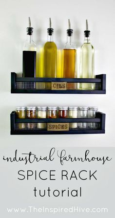 DIY Rustic Wall Mounted Spice Rack - 12 DIY Spice Rack Ideas to Update Your Kitchen at No Cost - DIY & Crafts