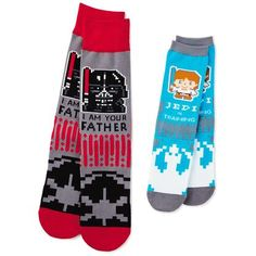 Rule the galaxy as dad and son with these socks featuring Darth Vader and Luke Skywalker. 1 pair adult socks, 1 pair child socks with pixelated designs. Dad Son, Father And Son, Matching Socks, Kids Socks, Luke Skywalker, Disney Star Wars, Crew Socks, Sons, Children
