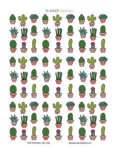 Cactus Kawaii Description: The sheet of this printable planner stickers size is x inches 1 ZIP file containing 1 JPG file, 1 PDF file & 1 Silhouette cut file. Planner 2018, Free Planner, Happy Planner, Kawaii Planner, Kawaii Stickers, Cute Stickers, Cactus Stickers, Image Cactus, 365 Kawaii