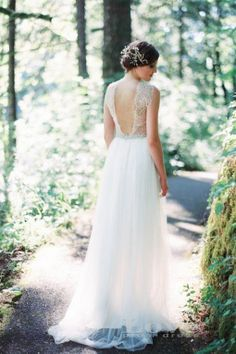 Custom Made A line Round Neckline Backless Lace by LovePromDress, $269.99